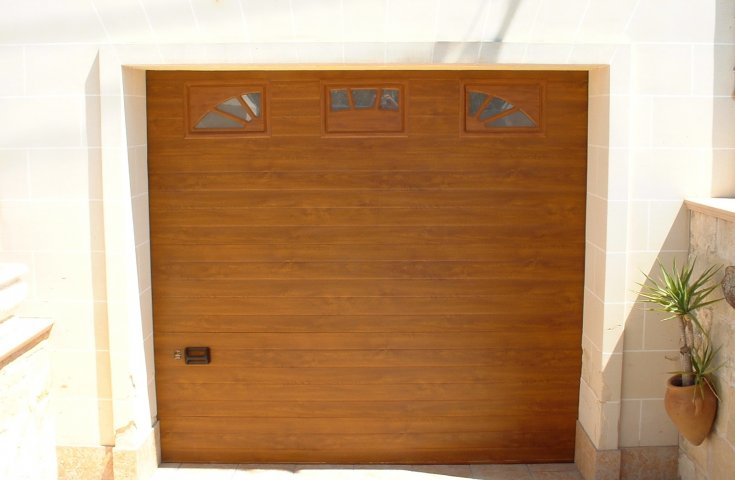 Garage Doors Malta - Oak Sectional Door with windows